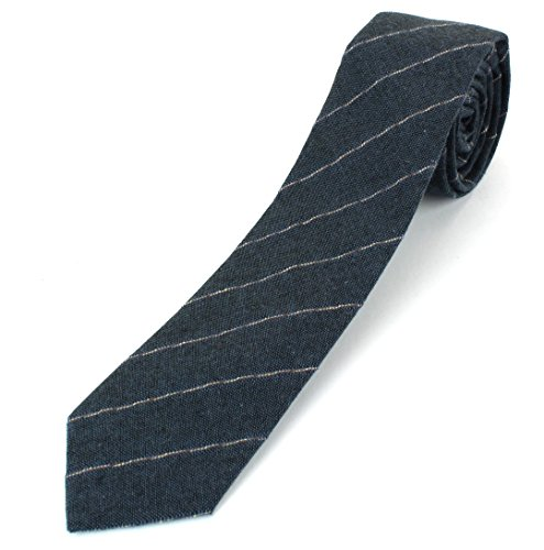 Men's Linen Cotton Skinny Necktie Tie Light Beige/White/Brown Pinstripe Pattern - Blue