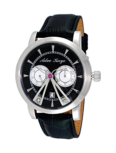 Adee Kaye Men's Stainless Steel Chinese-Automatic Watch with Leather Strap, Black, 22 (Model: AK8871-SVBK