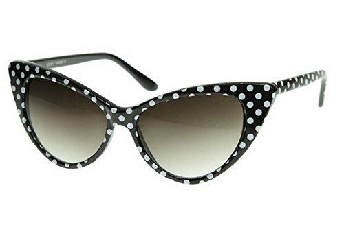 WebDeals - Cateye or High Pointed Eyeglasses or Sunglasses Vintage Inspired Fashion (Black Polka -
