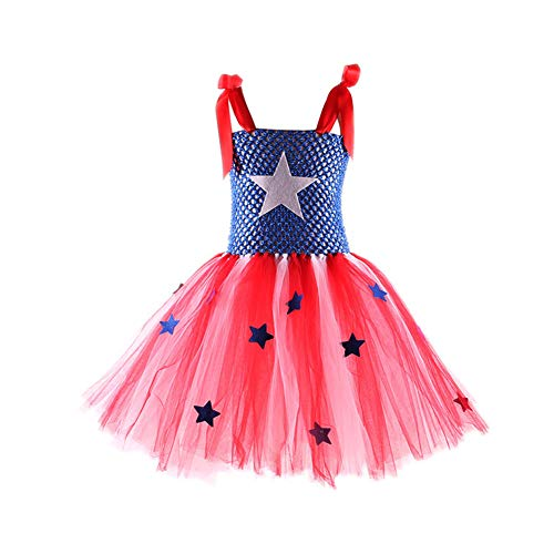 Captain Superhero America Costume, Tutu Dress for Baby/Toddler/Teen Girls, XXL Blue]()