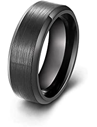 Mens Wedding Rings, 8mm Black Stainless Steel Brush Finish Beveled Polished Edge Comfort Fit, Promise Engagement Band Ring jewelry
