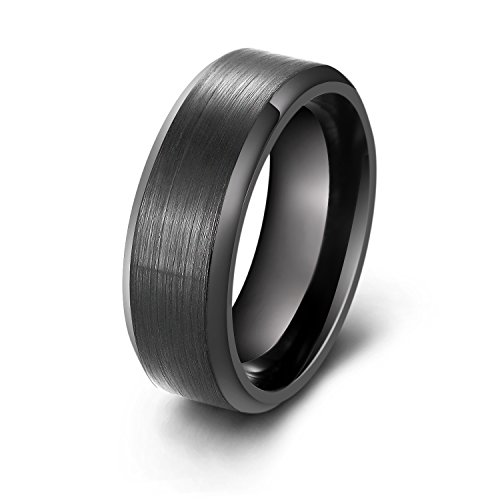 Mens Rings Wedding Engagement Promise, Black Dark Stainless Steel Finger Band Ring Jewelry,Cheap Fashion Infinity Purity Eternity Plain Love blank Dad Boys Married Best Friend Couple Size - Cheap Mens Fashion
