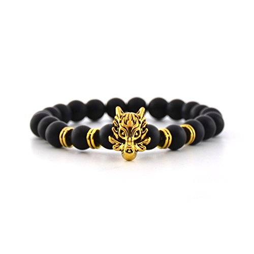 Mr.Van Mens Womens Cool Black Matte Agate Gems 8MM Beads Stretch Bracelet with Dragon Vein Agate