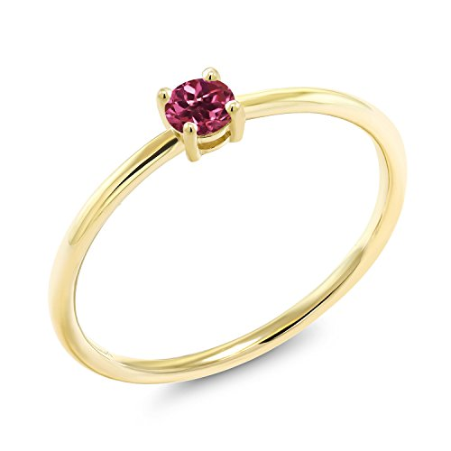 Gem Stone King 0.15 Ct Round Pink Tourmaline 10K Yellow Gold Solitaire Engagement Ring (Size ()
