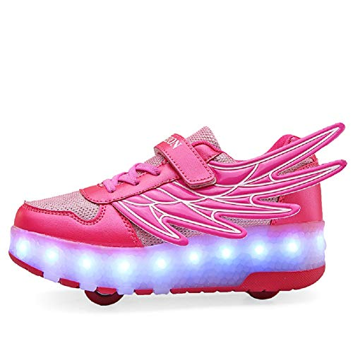 Ehauuo Girls Roller Shoes Kids Sparkling Wheels Shoes Boys Light up Roller Skates Sneakers Rechargeable Flashing Sneakers for Gift (3 M US Little Kid, B-Pink) -