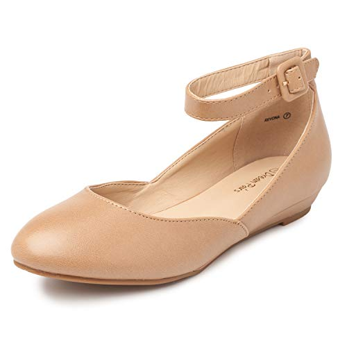 DREAM PAIRS Women's Revona Nude Pu Low Wedge Ankle Strap Flats Shoes - 6.5 B(M) US