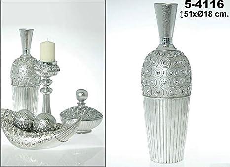 DonRegaloWeb - Jarrón de resina con forma de botella decorado con círculos y rayado en color plateado: Amazon.es: Hogar