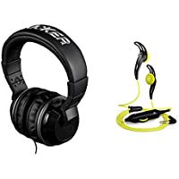 Favor Kicker HP402MB Over Ear Stereo Headphone AUX Mic Black + FREE Sennheiser Earbuds lowestprice
