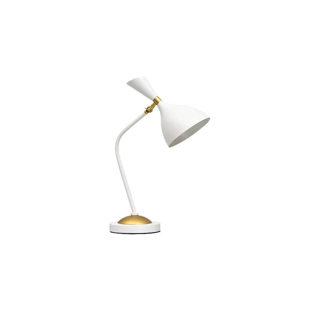 Weiß+7wled Bulb BAIF Postmoderne minimalistische Schlafzimmer-Tischlampe - Wohnzimmer - Studie - Student - Schlafsaal-Augenschutz - Kreativ - Schmiedeeisen-Leselampe (Farbe  Weiß + 7WLED-Lampe)