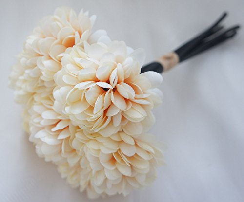 Lily Garden Silk Chrysanthemum Ball 7 Stems Flower Bouquet (Sand)
