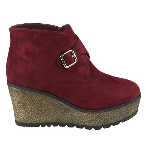 Ankle Platfrom Size EJ33 Half Strap Small BESTON Wine Booties Wedge Buckle Women's wgqxzY7