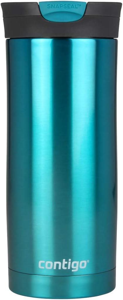 Contigo Huron Snapseal Travel Mug, Stainless Steel Thermal Mug, Vacuum Flask, Leakproof Tumbler, Coffee Mug with BPA Free Easy-Clean Lid, 470 ml
