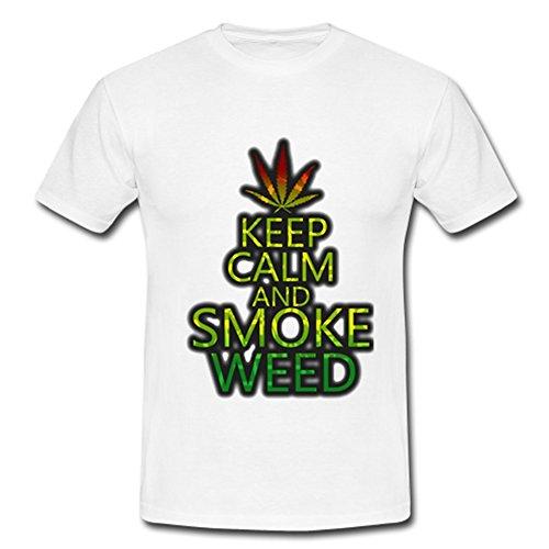 JIUDUIDODO Men's Short Sleeve Crew Neck Cotton Keep Calm and T-Shirt XS White
