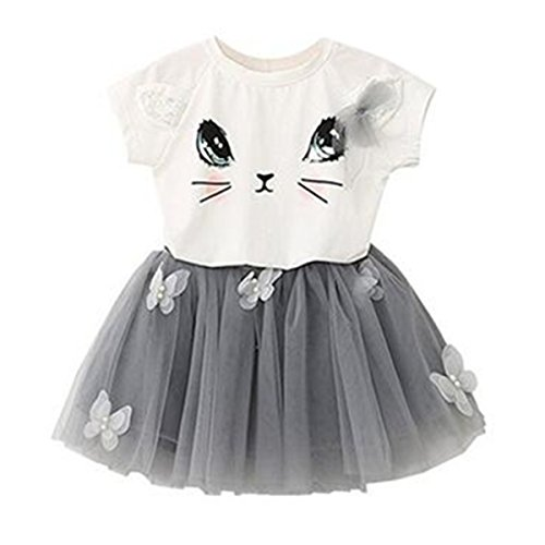 eaf5e90e5ebe Puseky Baby Girl Cute Cat T-shirt + Butterfly Mesh Bubble Skirt Kids  Clothes Set (2-3 Years