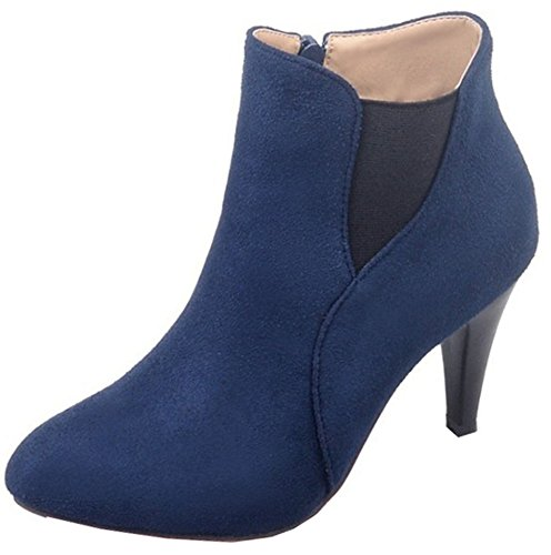 Easemax Women's Unique Faux Suede Chunky High Heeled Round Toe Side Zipper Ankle Boots Blue fC9wHrKP8E
