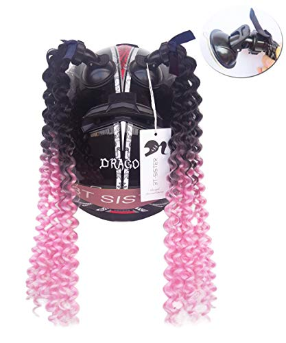 (3T-SISTER Helmet Pigtails Gradient Ramp Helmet Curly Ponytail Helmet Hair with Suction Cup for Motor Bike 2PCS 14inch Ombre Black to Pink)