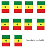 30' Senegal String Flag Party Bunting Has 30 Senegalese 6''x9'' Polyester Banner Flags Attached, Popular For School Classroom, Special Events, Bars, Restaurants, Country Theme Parties