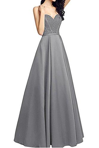 Linie La Herzausschnitt A Gruen Satin Braut Lang Brautmutterkleider Abendkleider Marie Partykleider Silber Jaeger Rock P1PRxfU