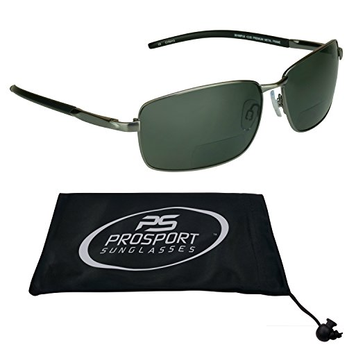 Polarized Bifocal Sunglasses 2.0 with premium 2mm TAC Polarized lenses and durable high nickel metal frames. Free Microfiber Cleaning Case Included.
