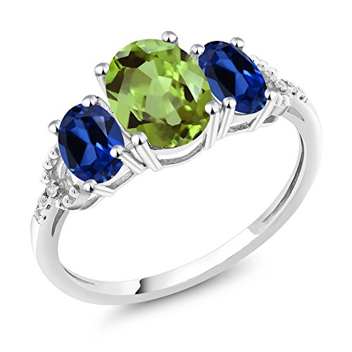 10K White Gold Diamond Accent Three Stone Engagement Ring set with 2.38 Ct Green Peridot Blue Simulated