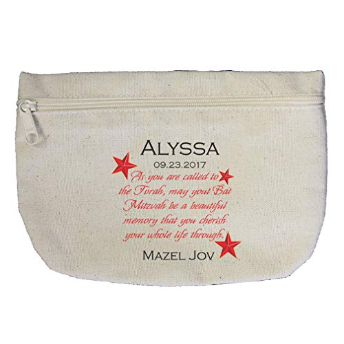 Torah Star - Personalized Custom Text called to the Torah Red Star Cotton Canvas Makeup Bag