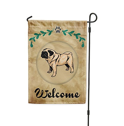 Brownrio Welcome PUG DOG Yard Patio House Banner Garden Flag w/Iron Stake Flag & Garden Pole 10 1/2 inches x 16 (Pug Garden)