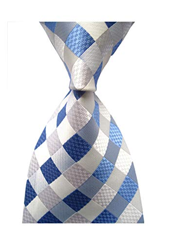 Secdtie Men's Classic Checks Light Blue Jacquard Woven Silk Tie Necktie ()