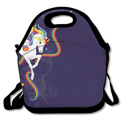 NEWINESS Adults Kids Rainbow Brite and Starlite Memories Insulated Neoprene Lunch Bag Zipper Adjustable Strap Lunch Backpack Lunch Organizer for School Travel Work Office Outdoor - Brite Backpack Rainbow