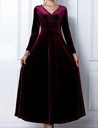 GSP-Damen Kleid - Übergrößen Sexy Solide Maxi Polyester V-Ausschnitt