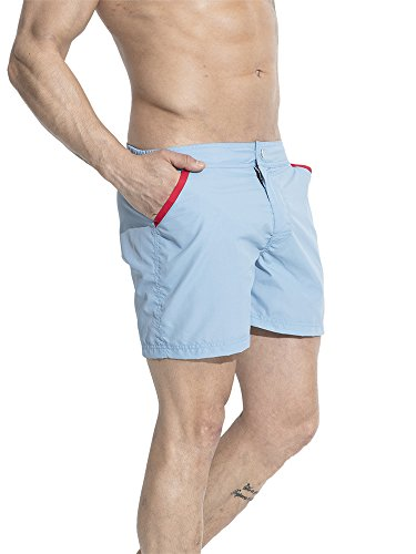 Neleus Men's Running Athletic Board Shorts with Pockets,707,Light Blue,M