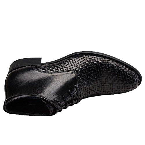 Santimon Mens Robe Bottes Cheville Oxford Tissé En Cuir Lacets Bottines Noir