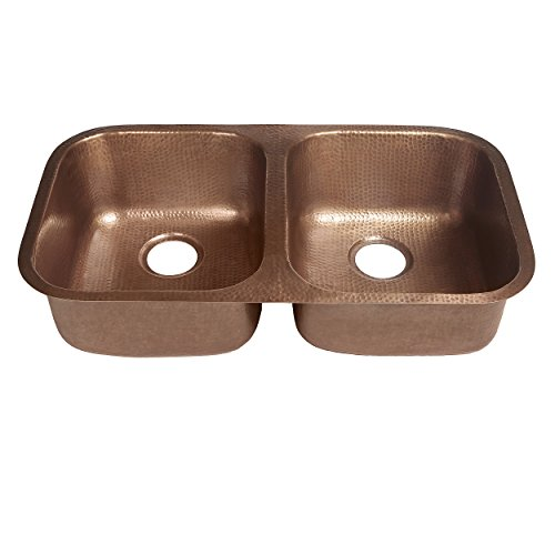 Sinkology SK205-32AC Kandinsky Undermount Handmade Pure Solid Double Bowl Kitchen Sink, 32-1/4, Antique Copper