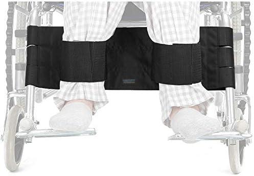 Wheelchair Leg Rest Seatbelt Restraining Strap Footrest Chair Harness Adult Wheelchair Support Safety Belt for Elderly Medical Restraints Foot Straps for Handicap Disabled (Black)