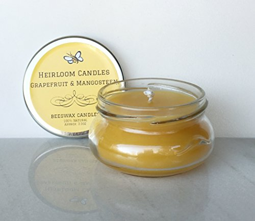 Grapefruit and Mangosteen Beeswax Candle – Pure Organic Beeswax, Citrus Honey Candle – Handmade, 3.3oz