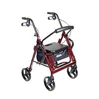 Drive Medical Duet Doble función Transporte Silla de ruedas Walker Rollator, Borgoña