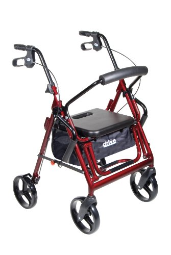 Drive Backrest Medical (Drive Medical Duet Dual Function Transport Wheelchair Walker Rollator, Burgundy)