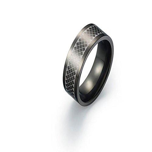 6mm Black Titanium Ring Wedding Band Special Pattern Design Comfort Fit SZ 6-12 Free Engraving Service