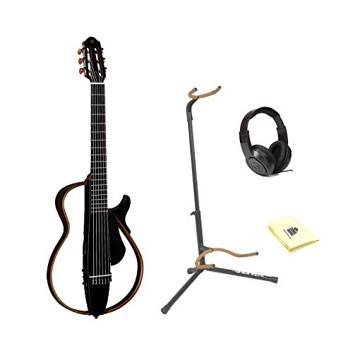 Yamaha SLG200N Nylon String Silent Guitar With Ultra 2445BK Basic Guitar Stand, Samson SR350 Open-Ear Headphones And Custom Designed Instrument Cloth (Black) Ultra 2445bk Guitar Stand
