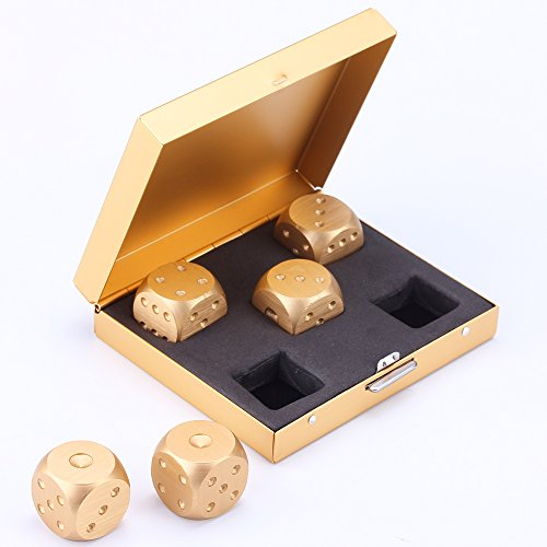 LZWIN-5-in-1-Precision-Aluminum-Alloy-Gold-Color-Solid-Metal-Dice-Poker-Dominoes-Tables-Board-Game-Drinking-Game-Portable-Dice-Men-Boyfriend-Gift