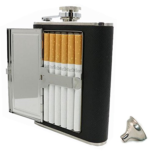 5OZ PU Leather Wrapped Stainless Steel Flask Liquor Alcohol Bottle Holder with Built-in Cigar Case and Funnel Set for Man - Flask Mens