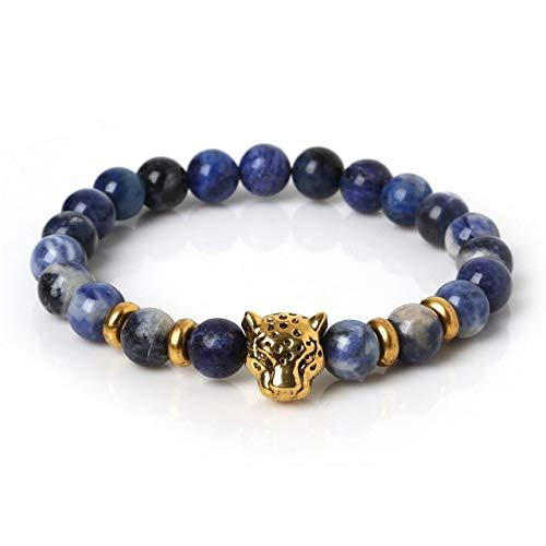 (Gabcus New Design 8mm Natural Tiger Eye,Golden Sand Stone Bracelet with Antique Silver 19cm Elastic Rope Bracelet - (Metal Color: Blue Cheese Beads))