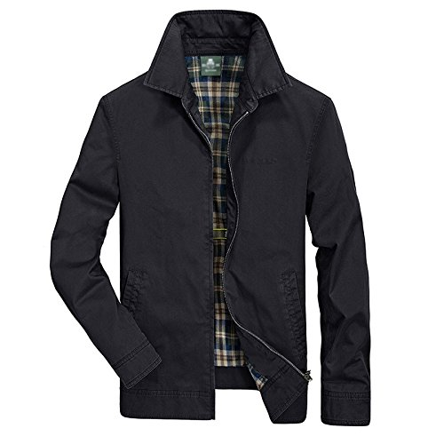 Manteau Urbain Lavé Moyen Darkblue JPFCAK âge Mode Casual Coton Lapel Hommes Hommes Vestes vYqxPUqX