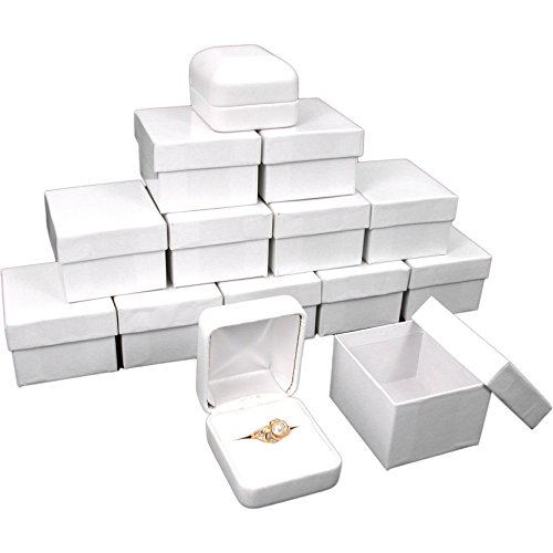 (12 White Leather Ring Gift Boxes Jewelry Case Display)