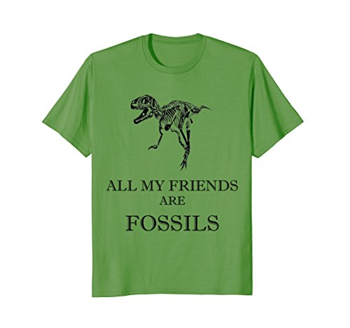 Mens ALL MY FRIENDS ARE FOSSILS T-Rex Skeleton Bone Funny Tshirt 3XL Grass ()