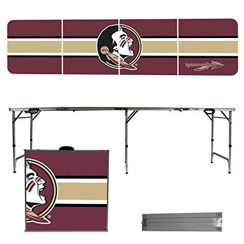 (Victory Tailgate NCAA Florida State University 8'x2' Foldable Tailgate Table with Adjustable Hight and Spill Resistant Sealant - Stripe Series)