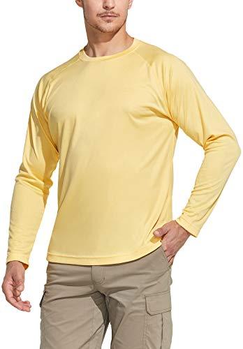 CQR Men's UPF 50+ Outdoor Long Sleeve Shirts, UV Sun Protection Loose-Fit Water T-Shirts, Running Workout Shirt