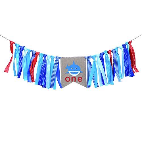Rainlemon Shark One Highchair Banner Blue Ocean Theme Baby Boy 1st Birthday Party High Chair -