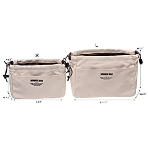 Vercord Canvas Handbag Organizers, Sturdy Purse Insert Organizer Bag in Bag, 13 Pockets 4 Colors 2 Sizes Beige L
