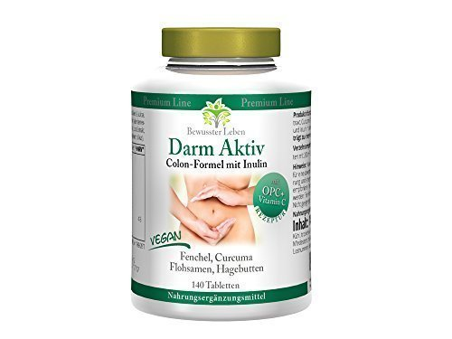 Biomenta DARM AKTIV - VEGAN - mit Flohsamenschalen, Curcuma longa (Curcumin), OPC, Hagebuttenextrakt, Fenchelsamen und Inulin zur natürlichen Darmreinigung u. Darmsanierung - 140 Tabletten