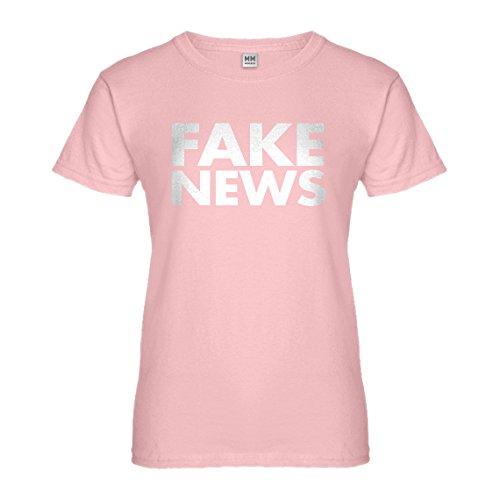 Indica Plateau Womens Fake News Large Light Pink T-Shirt ()
